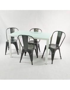 Zestaw stół Monako biały i...