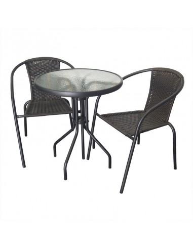 Zestaw Balkonowy Bistro Czarny Stół I 2 Krzesła