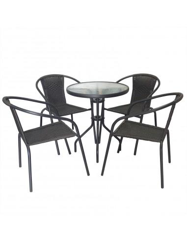 Zestaw Balkonowy Bistro Czarny Stół I 4 Krzesła
