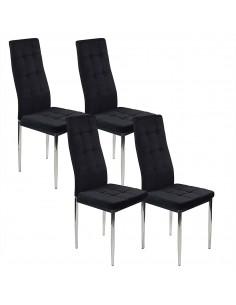 4 krzesła MONAKO VELVET czarne