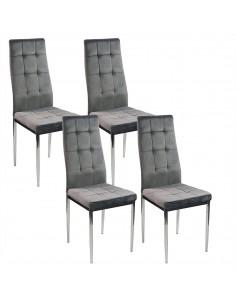 4 krzesła MONAKO VELVET szare