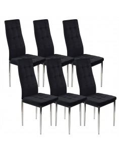 6 krzeseł MONAKO VELVET czarne