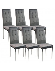 6 krzeseł MONAKO VELVET szare