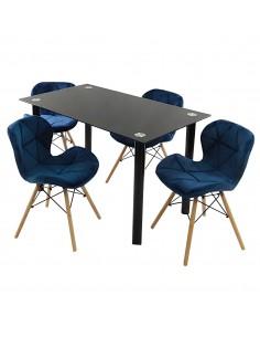 Zestaw stół Nicea czarny i...
