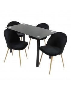 Stół NICEA czarny i 4...