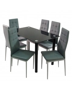 Stół NICEA czarny i 6...
