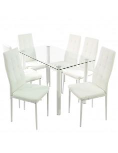 Stół NICEA biały i 6...