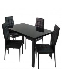 Stół MONAKO czarny i 4...