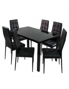 Stół MONAKO czarny i 6...