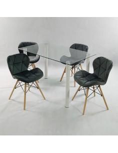 Fotel PASSION czarno-biały, ekoskóra - włókno szklane/chrom, outlet
