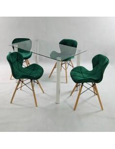 Fotel rozkładany SKY skóra biała - podłokietniki orzech