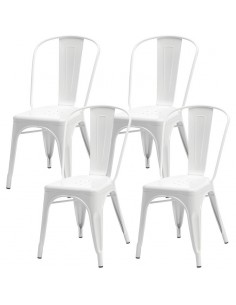 4 krzesła metalowe Paris białe