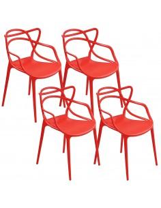 4 x Krzesło MASTER czerwone