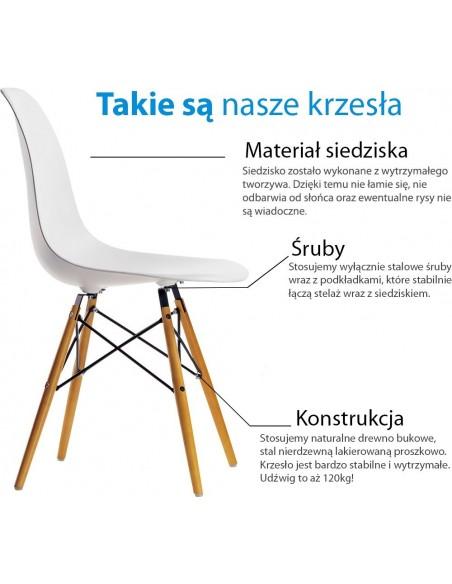 Krzesło DSW Milano Białe - nogi czarne