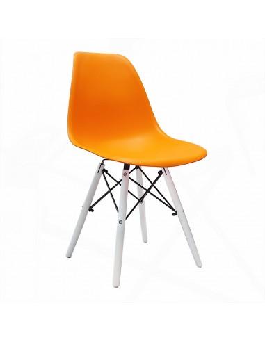 Krzesło DSW Milano pomarańczowe, nogi białe