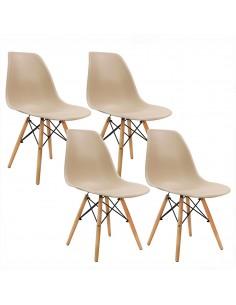 Stół i 4 krzesła przezroczyste, nogi białe